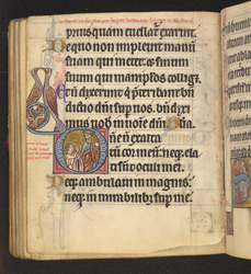 Historiated Initial With The Legend of the Blind Jew, In 'The De Brailes Hours'